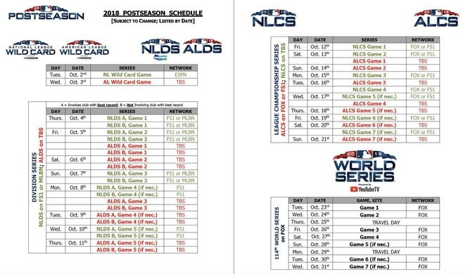 image relating to Cleveland Indians Printable Schedule referred to as MLB unveils 2018 postseason agenda -