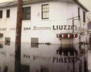 Liuzza's, submerged under eight feet of water, after Hurricane Katrina.