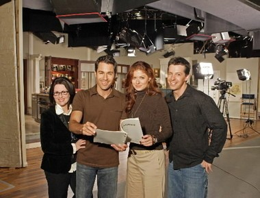 "Megan Mullally, Eric McCormack, Debra Messing and Sean Hayes take a moment to strike a pose while preparing for the September 2005 live episode that kicked off the final season of their NBC situation comedy, ""Will & Grace."""