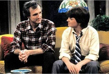 """Michael J. Fox, right, shown in a scene from """"Family Ties"""" with Michael Gross, was cast in the NBC comedy through the persistence of writer-producer Gary David Goldberg."""