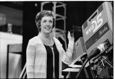 WVIZ Channel 25 founder Betty Cope, who died Saturday, at the station in 1976.