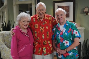 "Tim Conway, right, is pictured with fellow comedy legends Betty White and Carl Reiner in a 2010 episode of TV Land's ""Hot in Cleveland."""