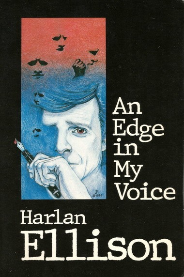 """Cleveland native Harlan Ellison is depicted on the cover of his collection of essays """"An Edge in My Voice."""""""
