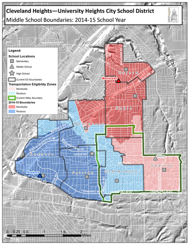 The map shows the new middle school boundaries approved by the Cleveland Heights-University Heights school board. The new boundaries will go into effect at the beginning of the 2014-15 school year.