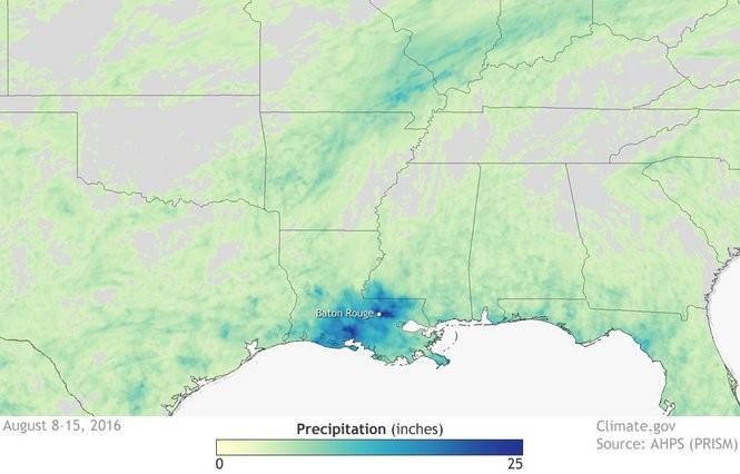 Louisiana flooding precipitation amounts.