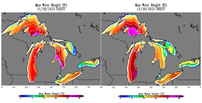 Maximum simulated wave heights during the storm.
