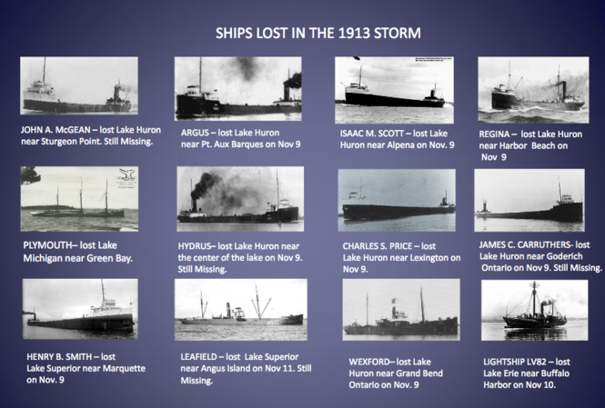 Some of the ships lost in the 1913 Great Lakes storm.