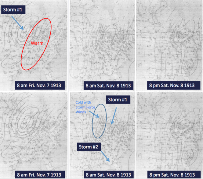 Original hand-drawn pressure maps showing the low pressure system from the west (the pre-storm).