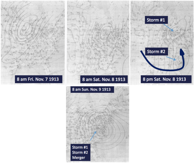 Original hand-drawn pressure maps showing the collision of the two storms.