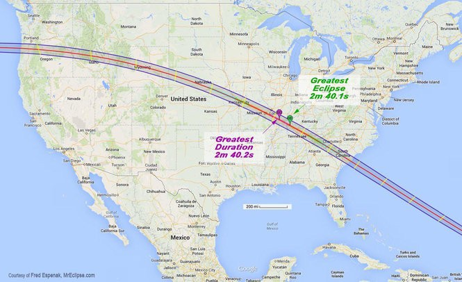 Map showing path of totality, where viewers of the eclipse will see total darkness.