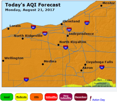 Areas of Northeast Ohio have elevated levels of ozone unhealthy for sensitive groups.