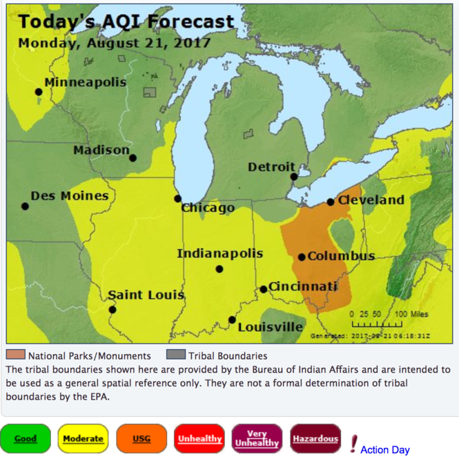 Today's air quality forecast for the Midwest.