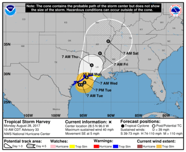 Harvey's forecasted track over the next few days. S signifies the storm is at tropical storm strength, D's represent the storm weakening to a tropical depression.