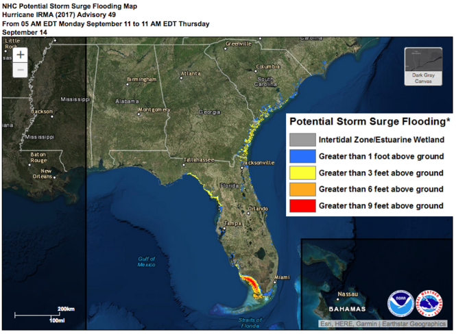 How does Irma compare to Harvey? Breaking down 2 historic hurricanes Potential Storm Surge Flooding Map on