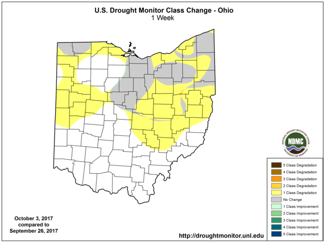 Ohio drought changes from last Thursday.