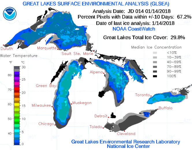 The Great Lakes Environmental Research Lab's latest Great Lakes ice analysis.