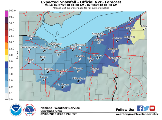 Snowfall totals through late Wednesday night.