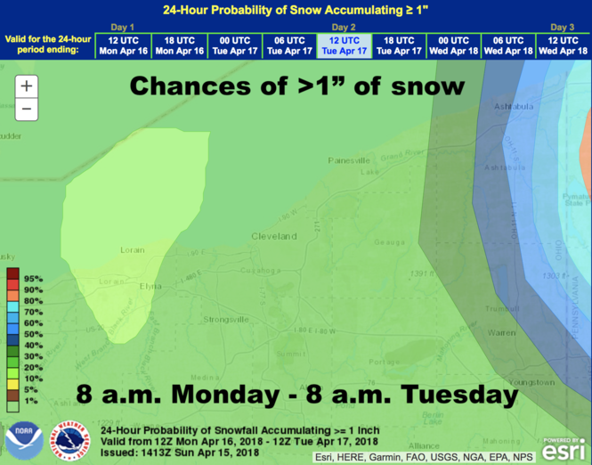 Chances of accumulating at least 1 inch of snow Monday night. (NOAA)