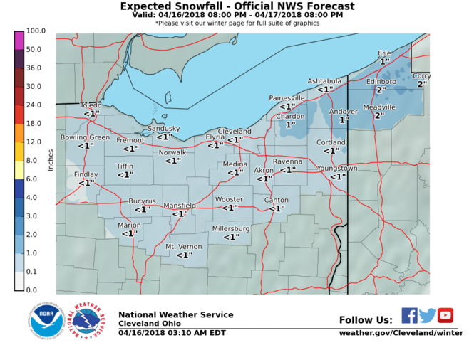 Snow totals Monday through Tuesday. (NWS Cleveland)