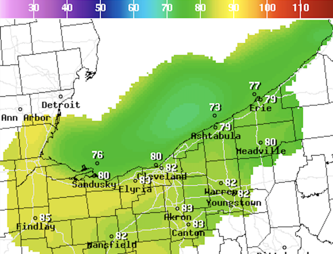 The National Weather Service in Cleveland's slightly different high temperature forecast for Wednesday.