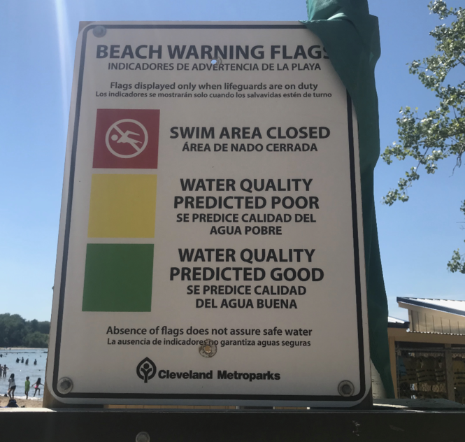 Example of beach warnings. (Jeff Tolman, external communications coordinator, Cleveland Metroparks)