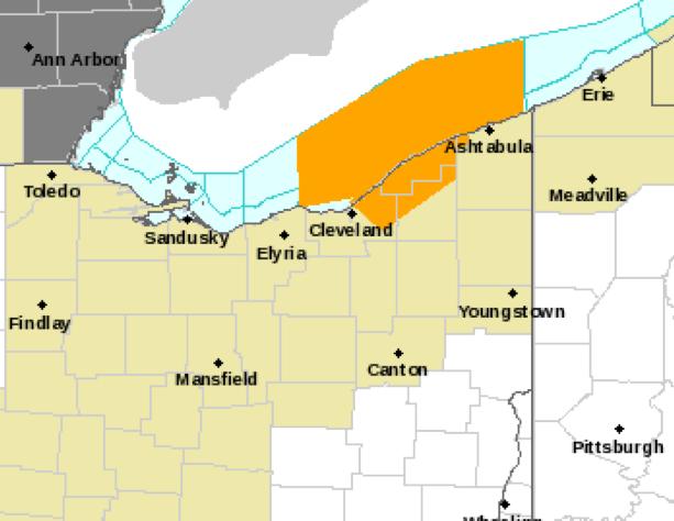 Severe thunderstorm warned area in orange.