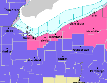 Winter storm warning area in pink, advisory area in purple.