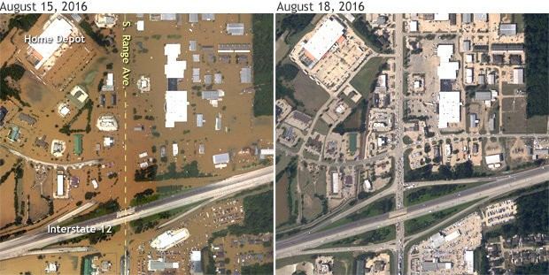Flooding in southern Denham Springs, Louisiana, near the intersection of Interstate 12 and S. Range Avenue on August 15 (left), and three days later (right), after the waters had receded. NOAA aircraft images provided by the National Ocean Service.