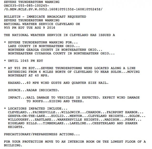 The National Weather Service's severe thunderstorm warning.