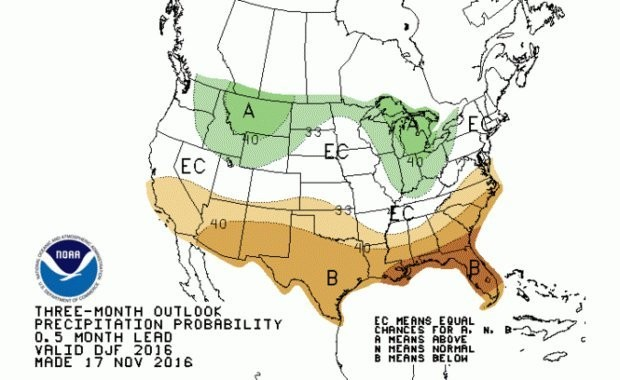 Chances of above or below average precipitation for the winter 2016/2017 season.