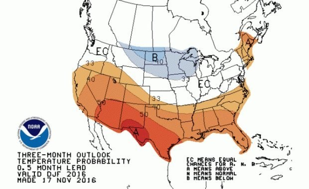 Chances of above or below average temperature for the winter 2016/2017 season.