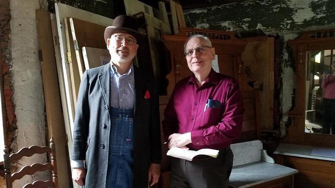 William Krause (left) greets Weston descendant John Soeasman at the historic Lilly-Weston house.