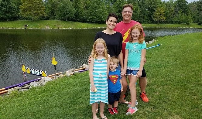 Megan and Scott Urbas from Bay Village brought their children, (from left) Livia, Calvin and Zoe, to the Westlake Duck Race.