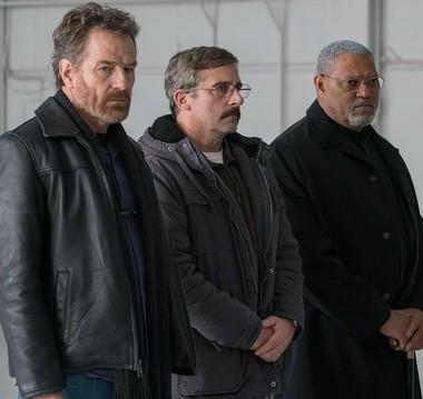 Cranston, Carell and Fishburne present a rather solemn trio.