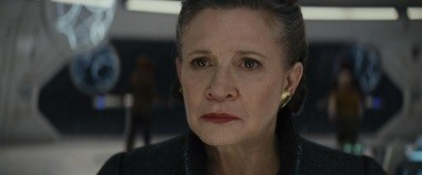 The late Fisher returns in her last screen role, the rebel leader now promoted to General Leia.