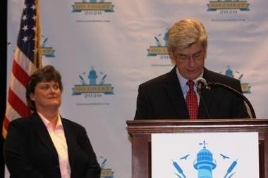 In this August 2012 photo, Gov. Phil Bryant announces members of the GoCoast 2020 Commission. (File)