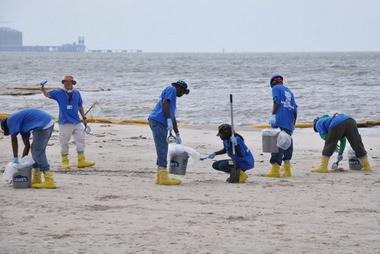 Workers scan the Pascagoula Beach for tarballs, tar patties and emulsified oil in July 2010. (File photo)