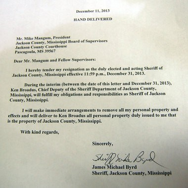 Mike Byrd's letter of resignation as Jackson County Sheriff.