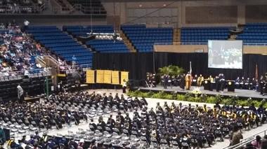 Approximately 300 graduates ready to walk across the stage at Saturday's USM Gulf Coast graduation. (Cassie Fambro | cfambro@al.com)