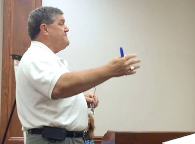 Consultant Demery Grubbs talks to Pascagoula City Council members about a $15 million bond Aug. 18, 2014. (File)