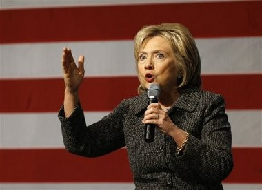 In this photo taken Jan. 12, 2016, Democratic presidential candidate Hillary Clinton speaks in Ames, Iowa. (AP file photo)