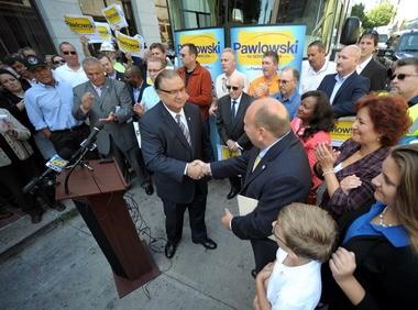 Easton Mayor Sal Panto Jr. endorses Ed Pawlowski during his rally.