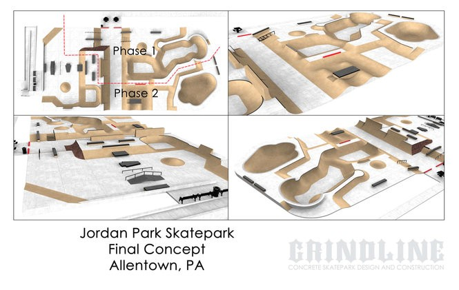 The proposed Jordan Park skate park is broken up into two phases, totaling about $1.4 million, officials said in April 2018. (Courtesy image | For lehighvalleylive.com)