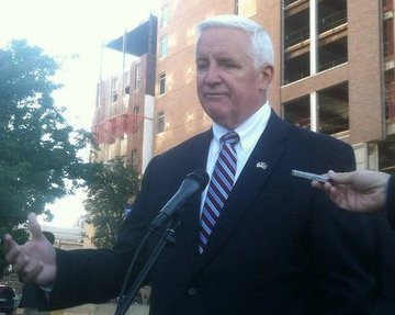 Pennsylvania Gov. Tom Corbett speaks this afternoon in front of the Allentown hockey arena hotel, which will be part of Marriott's Renaissance Hotels line.