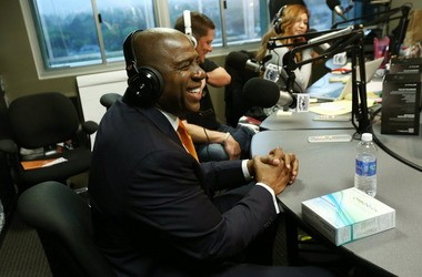"Earvin ""Magic"" Johnson, CEO of Magic Johnson Enterprises, visits the LA Power 106 studio to discuss the OraQuick In-Home HIV Test Monday in Los Angeles."