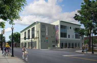 This is a rendering of the new school to be built at East Third and Polk streets.