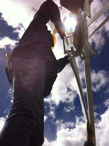 The wind turbine is installed some 16,000 feet above sea level near Trujillo, Peru.