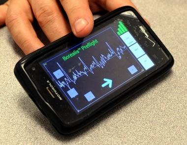 MindReader's brainwave biosensor data can be read on a smartphone app.