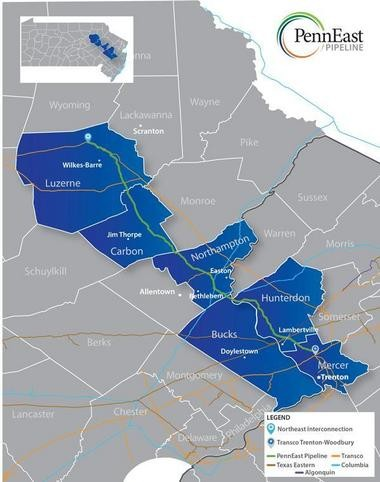 PennEast Pipeline Co. LLC on Aug. 12, 2014, announced it proposes a 108-mile natural gas pipeline estimated to cost nearly $100 billion that would begin in Luzerne County, Pennsylvania, cross through Northampton and Hunterdon counties and end at Transco's Trenton-Woodbury interconnection in New Jersey.