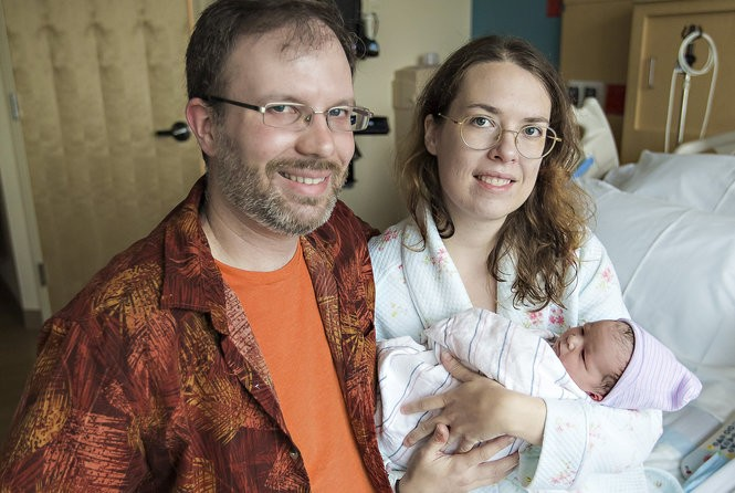 Parents Holly and Dustin Mongi with newborn Daphne Soleil Mongi at Lehigh Valley Hospital-Muhlenberg. Daphne weighed 6.15 pounds and measured 20 inches long. (Courtesy photo)